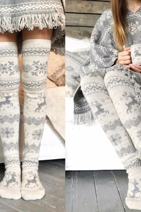 Women's Thigh High Long Cotton Socks and Stockings