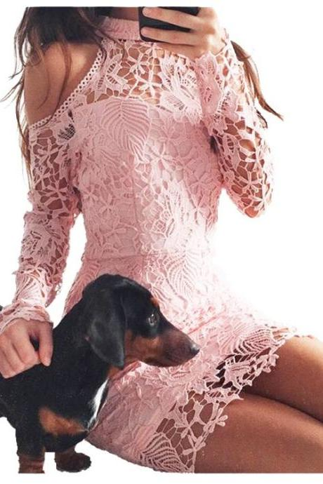 Pink Off Shoulder Long Sleeve Lace Dress