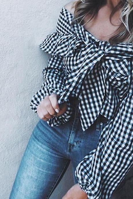 Off Shoulder Ruffled Plaid Blouse