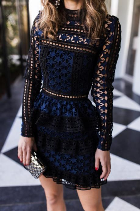 Elegant Long Sleeve Lace Party Dress