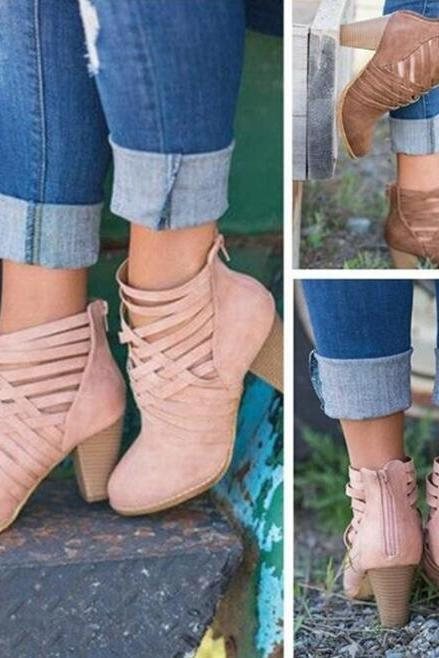 Gladiator Ankle Martin Ankle Boots - Blush Pink, Brown