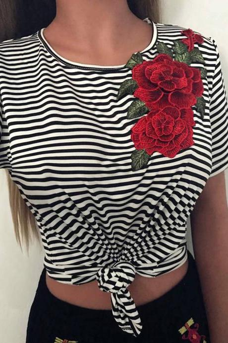 Flower Embroidery Casual Stripe Top