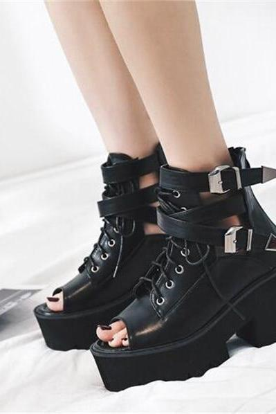 Peep Toe Black Lace up High Heels Sandals