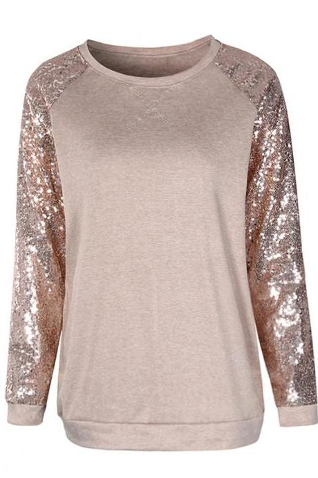 Sequined Long Sleeve Casual Top