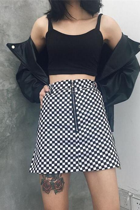 Printed Black and White Plaid Harajuku Mini Skirt