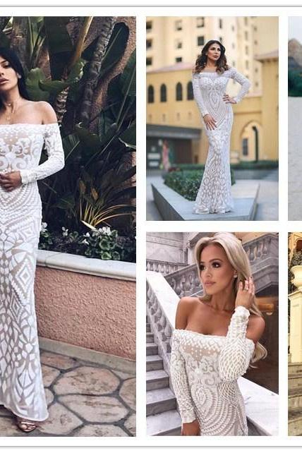 Beautiful Sequined Off Shoulder Mermaid White Long Party Dress