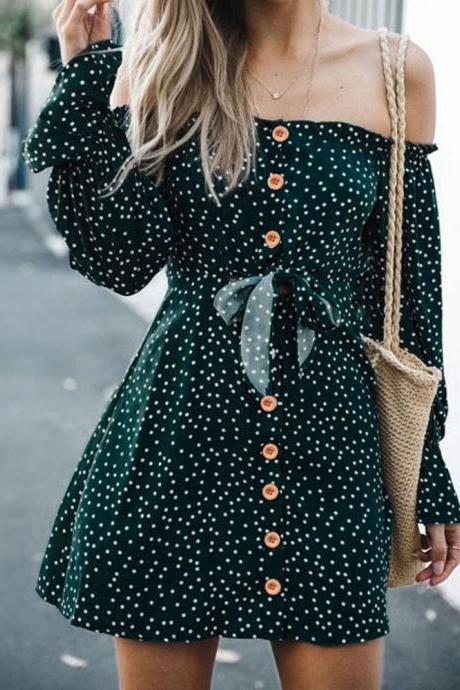 Lacde up Polka dot Ruffled Long Sleeve Off Shoulder Dress