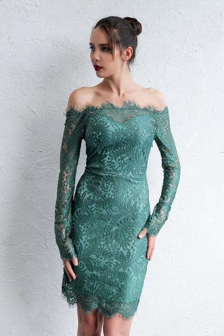 Green Off Shoulder Long Sleeve Lace Party Dress