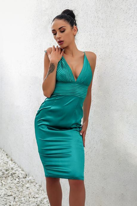 Green Bodycon Spaghetti Strap Party Dress
