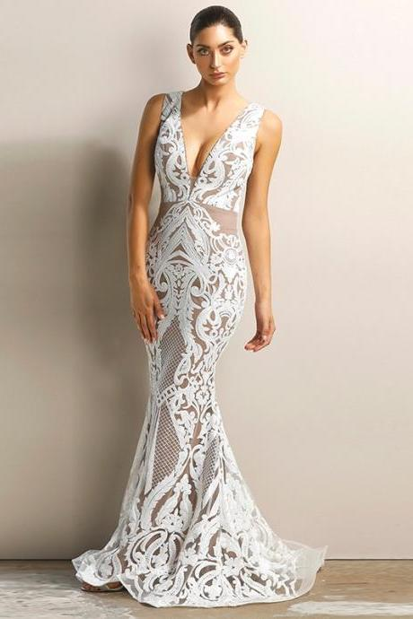 Sexy V Neck Sequined Lace Long Party Dress