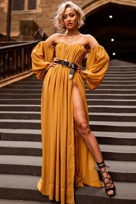 Elegant Chiffon Solid Color Off SHoulder Long Dress with Slit