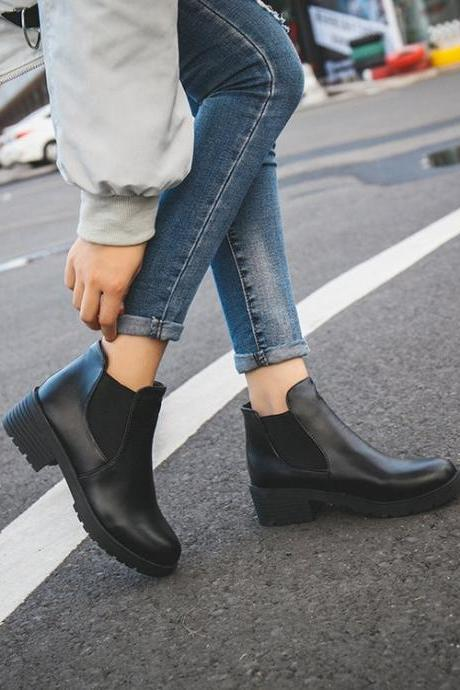 Black Women Martins Ankle Boots