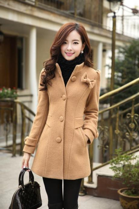 Chic Woolen Bowknot Winter Coat