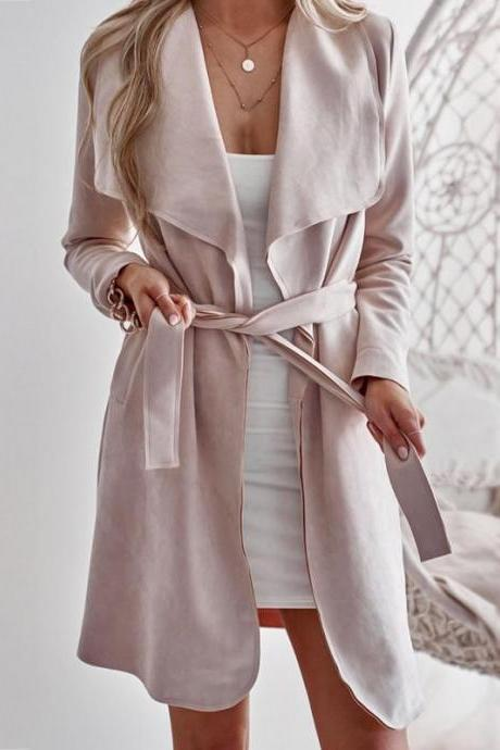 Spring and Autumn Casual Solid Color Cardigan Coat