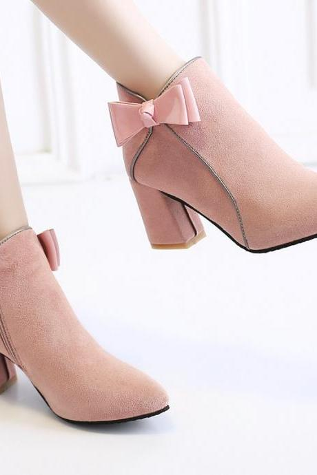 Pink Suede Pointed Toe Side Bow Chunky Heels Ankle Boots