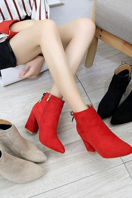 Lace up Autumn and Winter PU Leather Ankle Boots