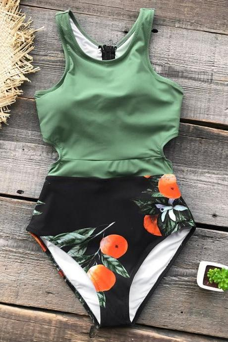 Green One Piece Cut Out Printed Swimsuit