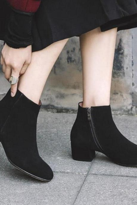 Chic Side Zip Low Heel Ankle Boots in 3 Colors