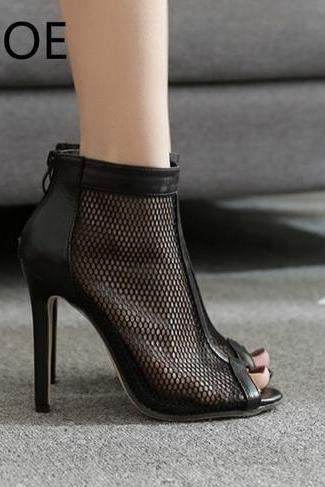 Black Mesh High Heels Peept Toe Sandals