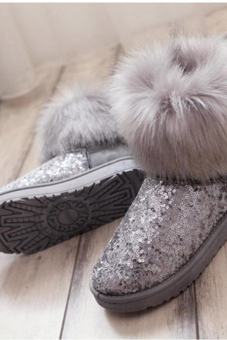 Winter Faux Fur Sequin Ankle Boots in Grey and Black