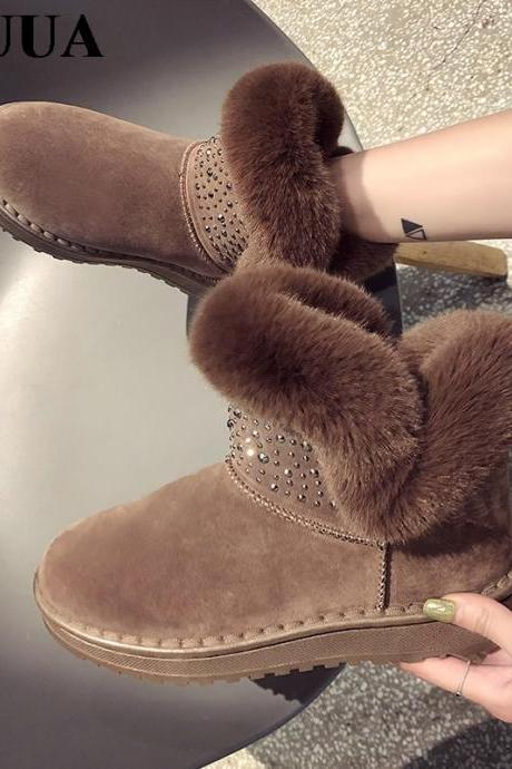 Elegant Faux Fur Rivet Women's Ankle Winter Boots