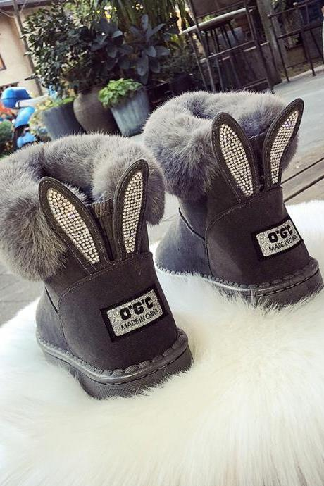 Rhinestone Rivet Warm Faux Fur Ankle Winter Boots