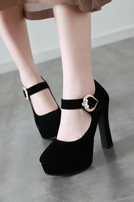 Stylish Solid Color High Heels Suede Fashion Shoes
