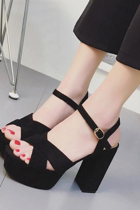 Sexy Cross Strap Suede High Heels Sandals