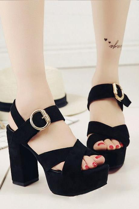 Buckle Design Cross Strap Suede High Heels Fashion Sandals