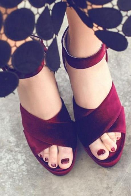 Velvet Peep Toe Stylish Platform Sandals