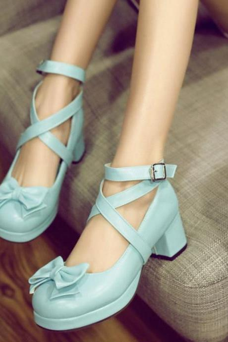 Gorgeous Cross Strap High Heels Shoes with Bow