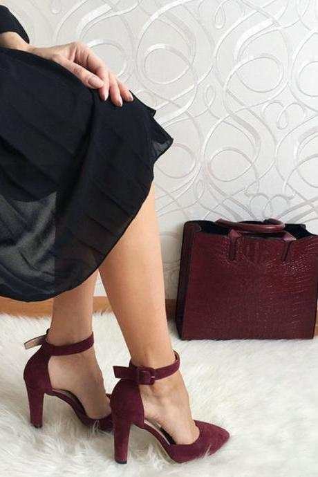Wine Red and Black Classy Pointed Toe Pumps