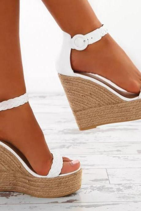 Ankle Strap Summer Women Wedge Sandals in White and Gold