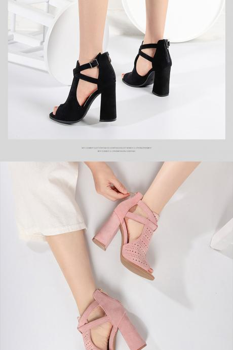 Peept Toe Suede Summer Sandals