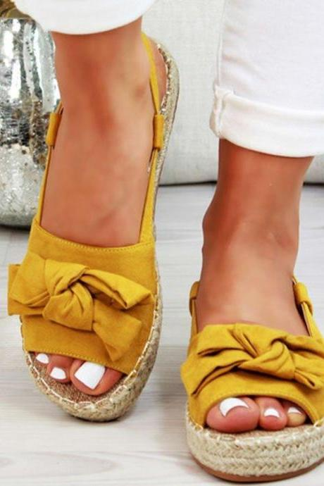 Peep Toe Casual Summer Sandals with Bow