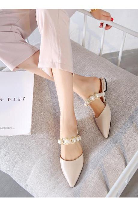Pearl Beaded Stylish Pointed Toe Slip on Shoes
