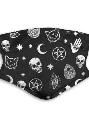 Black Moon Cat Skull Printed Washable and Reusable Face mask