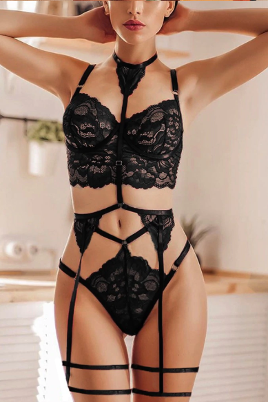 3 Pieces Set Sexy Lace Lingerie