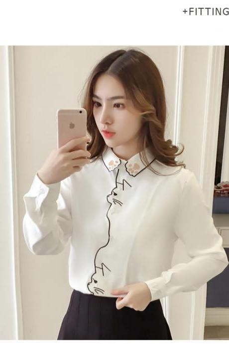 Cat Embroidery White Blouse