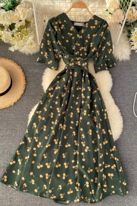 Cherry Print Vintage Style Summer Dress