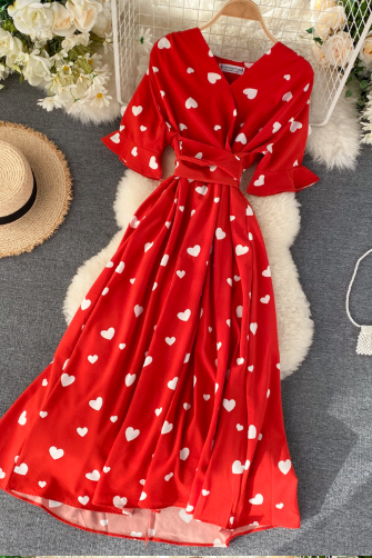 Vintage Heart Print Long Dress