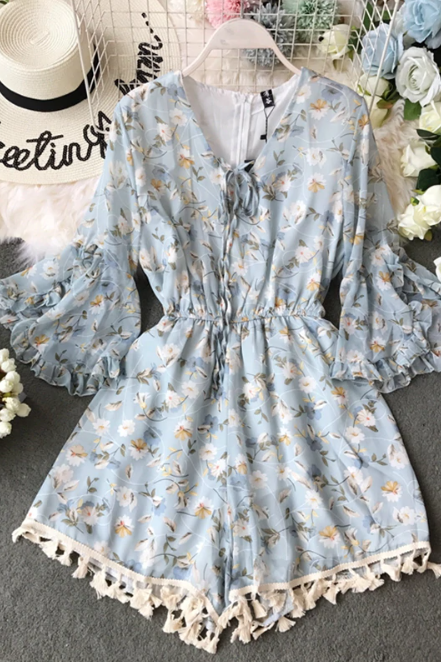 V Neck Floral Print Tassel Lace up Romper