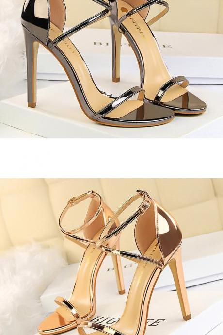 Elegant Ankle Strap High heels Fashion Sandals in Silver and Gold