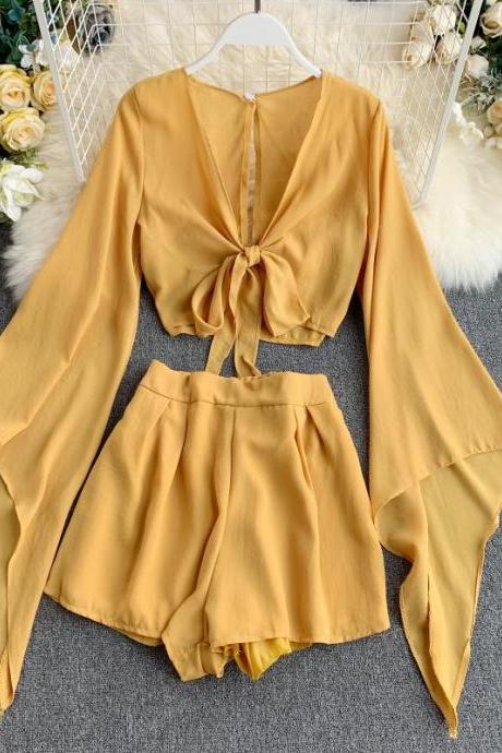 Summer Chiffon 2 Piece Top and Shorts Set