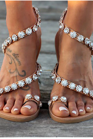 Beautiful Boho Crystals Fashion Summer Sandals