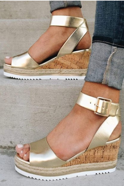 Summer Buckle Strap Women's Fashion Wedge Sandals