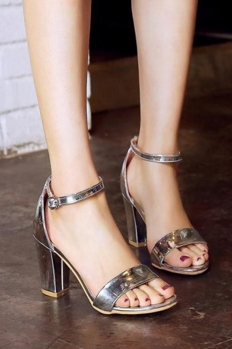 Patent PU Ankle Strap Silver and Gold Women's Fashion Sandals
