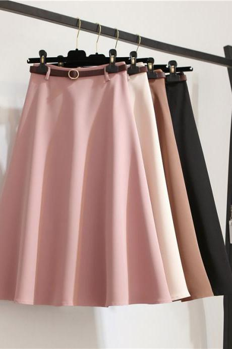 Classy Summer A Line Solid Color Skirts