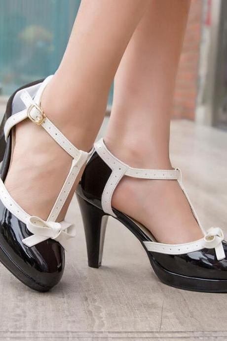 Stylish Vintage Design Bow Tie High Heels Fashion Sandals