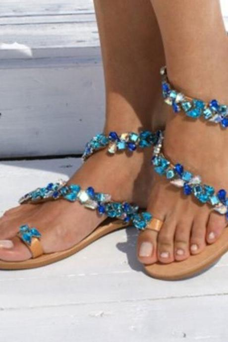 Beautiful Blue Boho Beaded Fashion Sandals